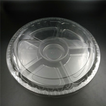 Disposable plastic pet salad container.