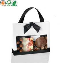 White paper plastic bag snacks food packaging with ribbon