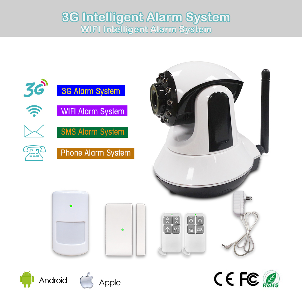 Home surveillance GSM Alarm System 1280*720 pixel Camera WIFI+3G network security burglar alarm system