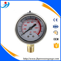 63mm 2.5'' high pressure gauge 60 MPa bottom connection brass