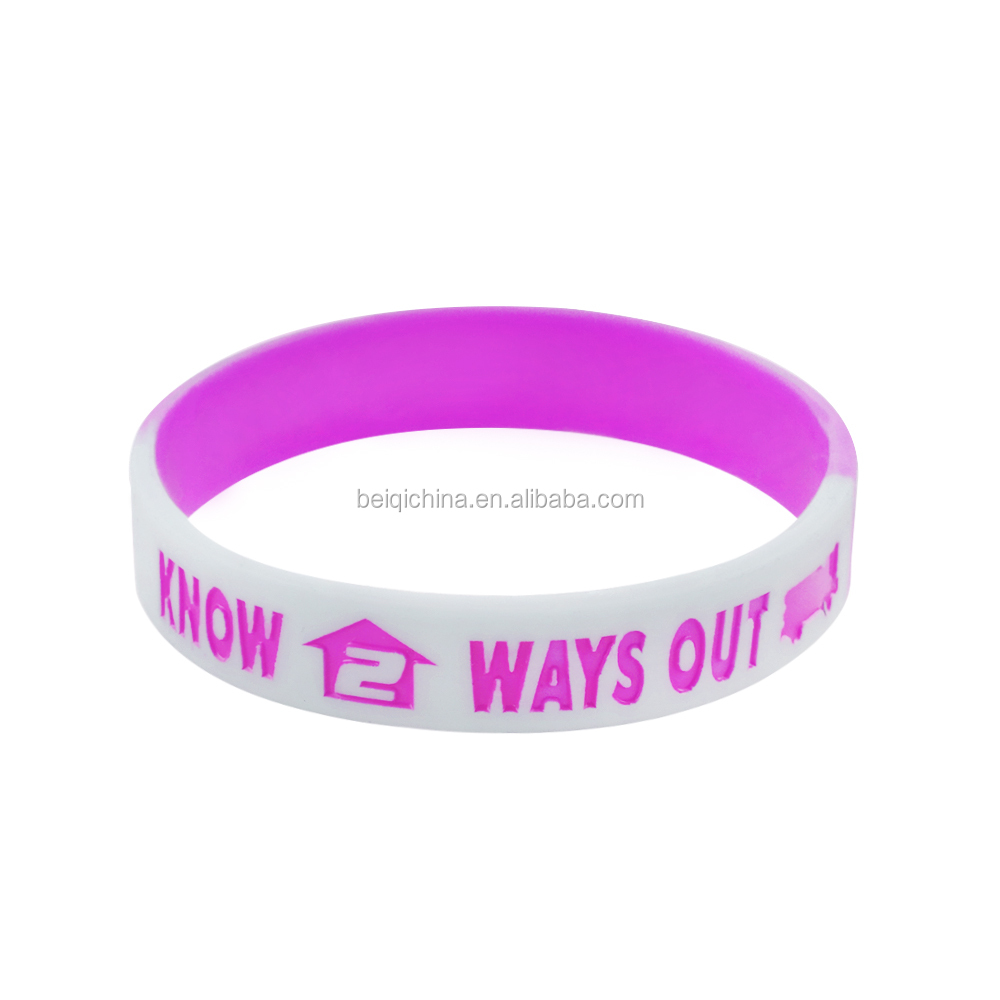 dual layer wristband cheap custom personalized silicone