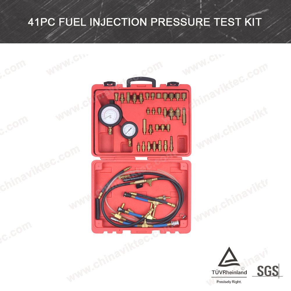 Petrol Fuel Injection Pressure Test Kit - Two Gauges - 0-145psi (VT01055)