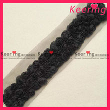 3 rows black flower lace trim yard WTP-767