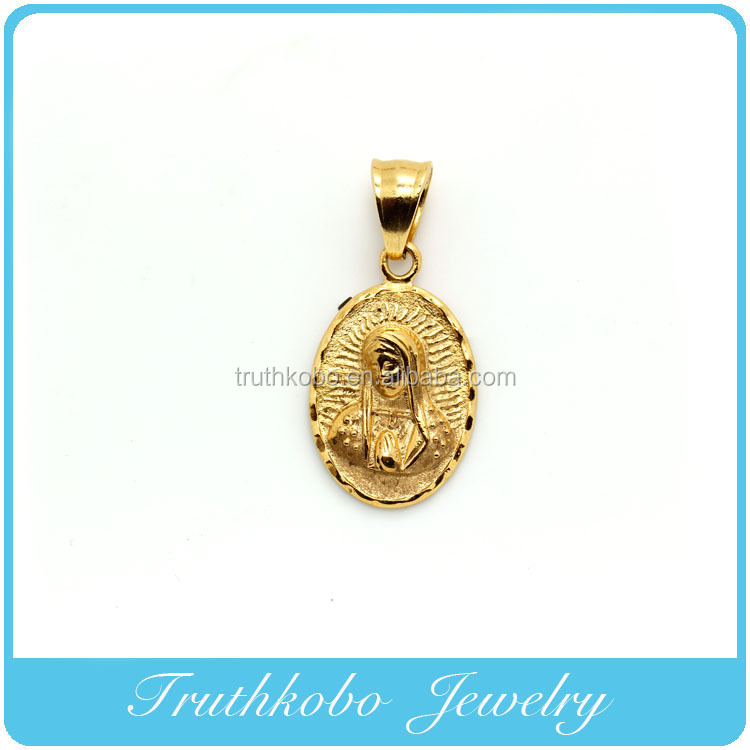 China Professional Stainless Steel Jewelry Manufacturer Supply High Quality 18K Gold Plating Religious Christianity Mary Pendant