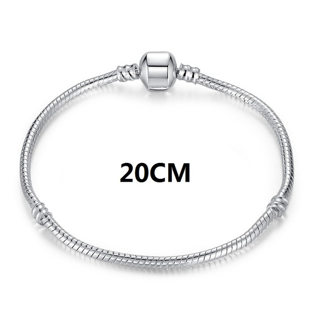 Fashion Silver Snake Chain European Charm Bead Fit Original WOS Bracelet Bangle Jewelry For Women
