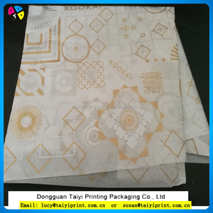 customized printed gold logo white tissue paper wrapping