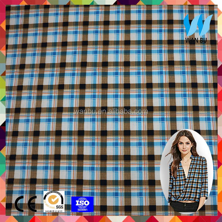 printed plaid polyester taffeta fabric blue and black stripe taffeta for garment