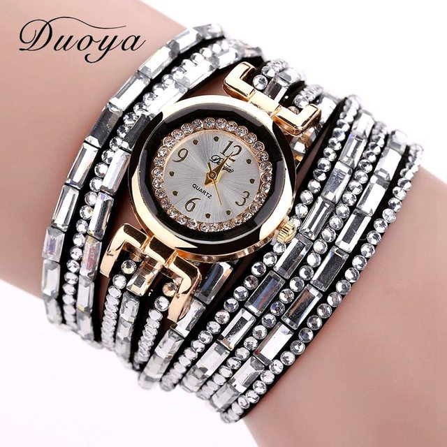 Duoya Brand Gold Crystal Fashion Bracelet Watch Women Casual Leather Clock Female Dress Quartz Electronic Wristwatch DY004