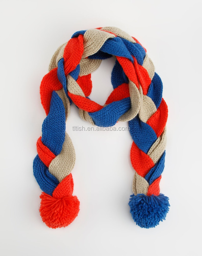 Fashion custom knitted acrylic Custom Winter scarf