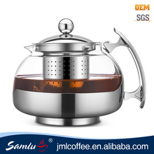 Amazon hot sell stainless steel tea pot / glass teapot with infuser