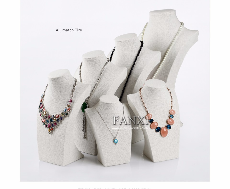 FANXI Custom Wooden Mannequin Shape Jewelry Display Stand Counter Shop Linen Pendant Necklace Bust