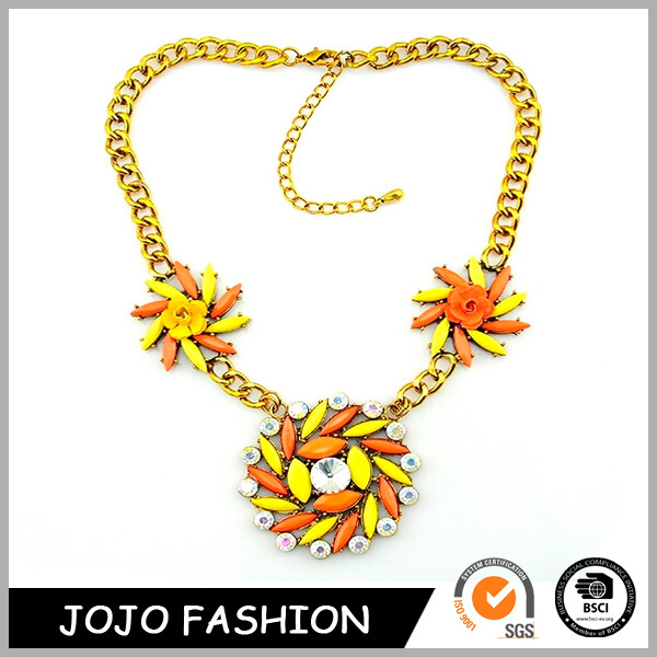 Fashion gold plated chunky chain necklace, acrylic flower statement necklace/