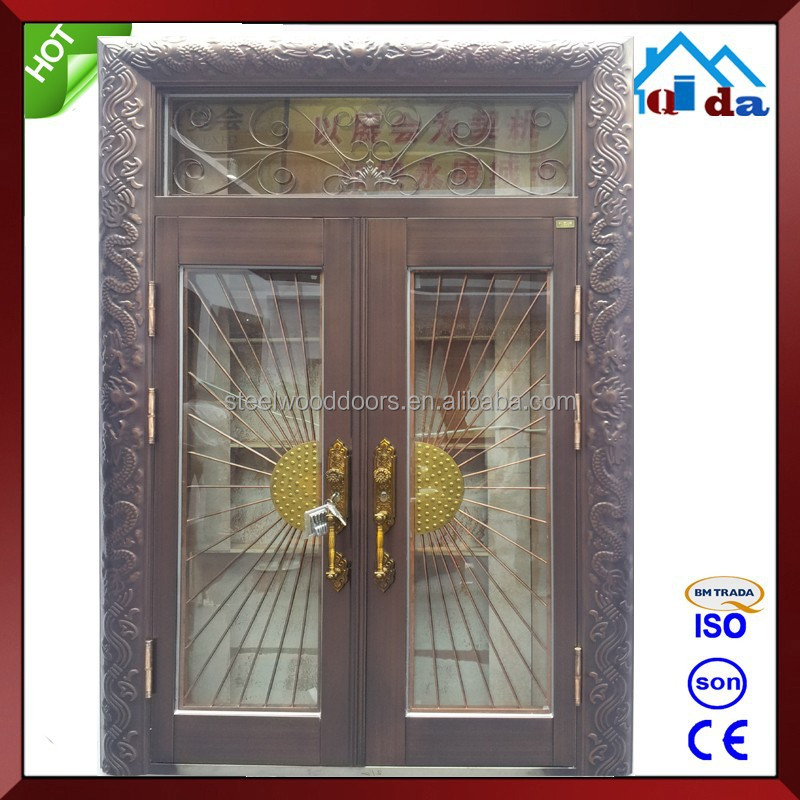Double Design Exterior Metal Door With Glass