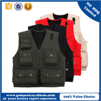 Custom logo Waterproof Cotton Photography Fishing Vest for Men