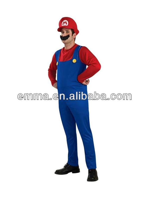 Adult Super Mario Brothers Outfit Fancy Dress Nintendo Costume BM126