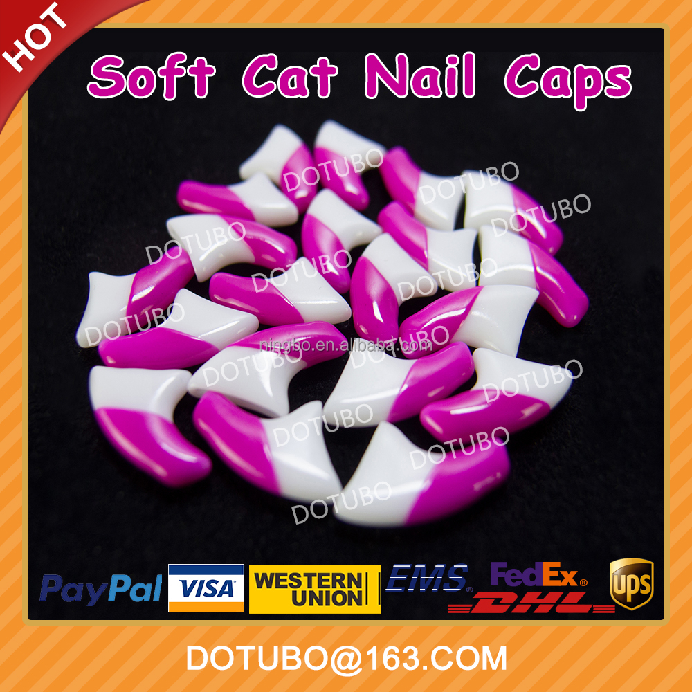 Double Colour Magenta & White Soft Silicon Cat Nail Caps /Cat Grooming /Cat Claw Caps With Free Glue And Applictor