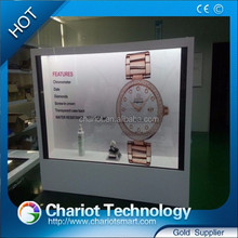 Chariot transparent LCD monitor for advertising, exhibition display with low price