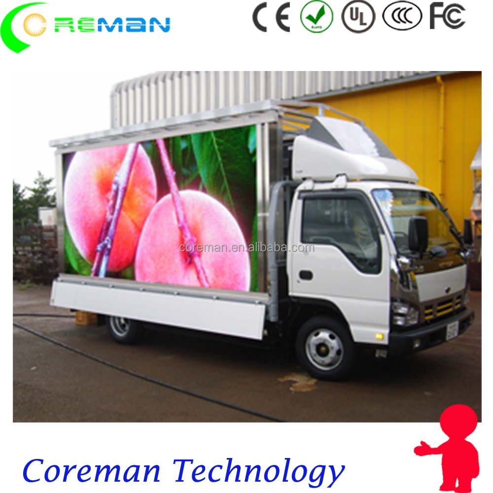 posters save fuel save environment rgb advertising truck led board p6 / p10 led truck board outdoor smd dip