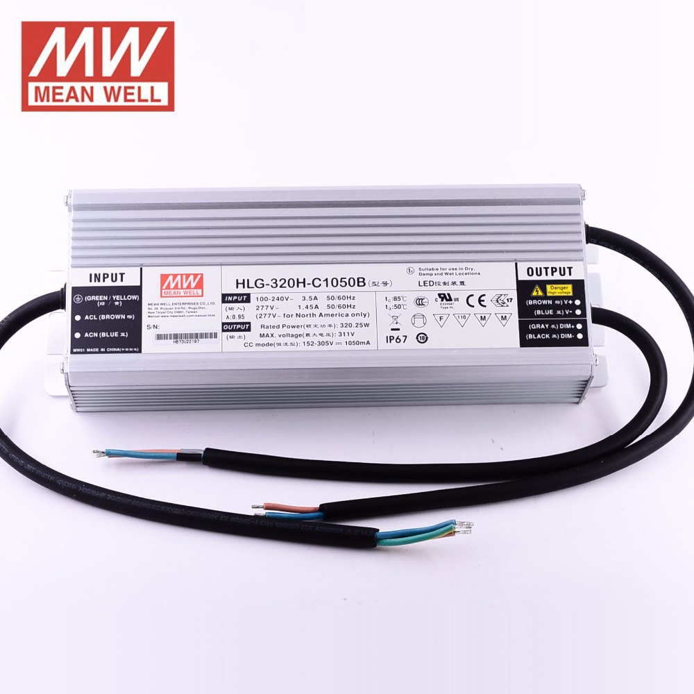 IP67 MEAN WELL HLG-320H-C1050B 1050mA LED <strong>Driver</strong> Constant Current