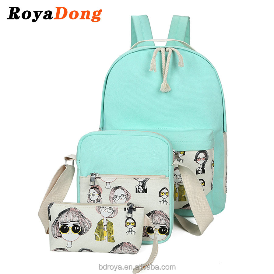 RoyaDong Kids School Bags Canvas Printing Girls Women Backpacks Set For Girls Backpack Set For 3 Pieces