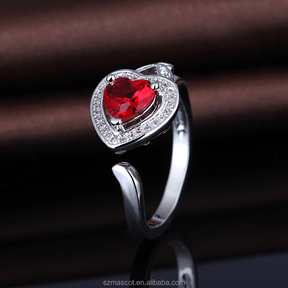 Latest Designs Heart Shaped Couple Love Ruby Ring