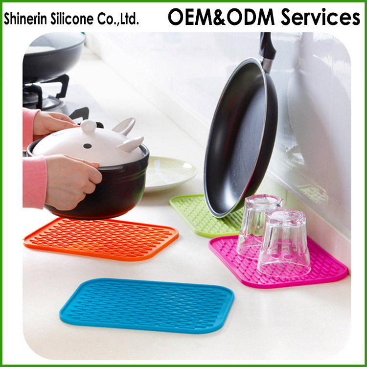 Premium Silicone Dish Drying Mat table decoration heat resistant trivet pads