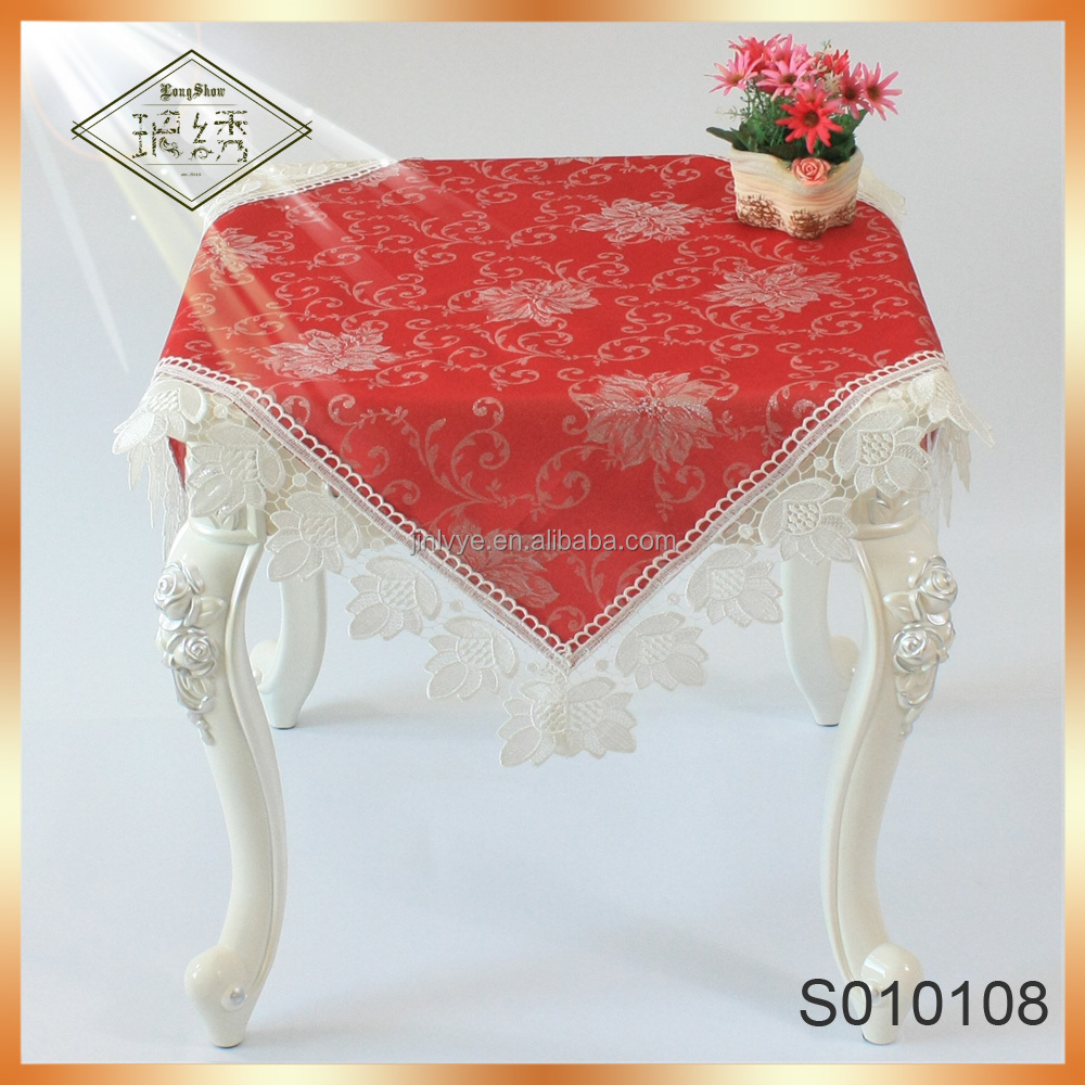 Wholesale Satin Fabric Table Cloth Embroidery Lace Tablecloth