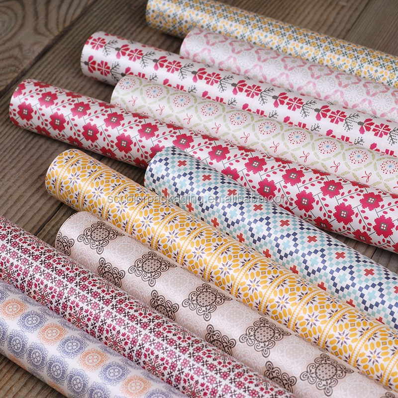 floral Decorative 5 sheets/lot vintage rabbit/ tartan/floral flower gift wrapping packing paper handmade DIY gift wrap -76x54cm