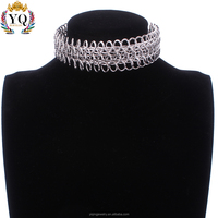 NYQ-00691 2017 latest design charm simple gold/silver Mesh open Adjustable Lobster clasp choker Metal necklace women