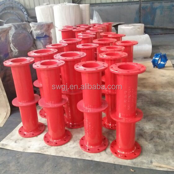 ISO BS Ductile Iron Pipe Fittings - Double Flange Pipe with puddle thrust flange