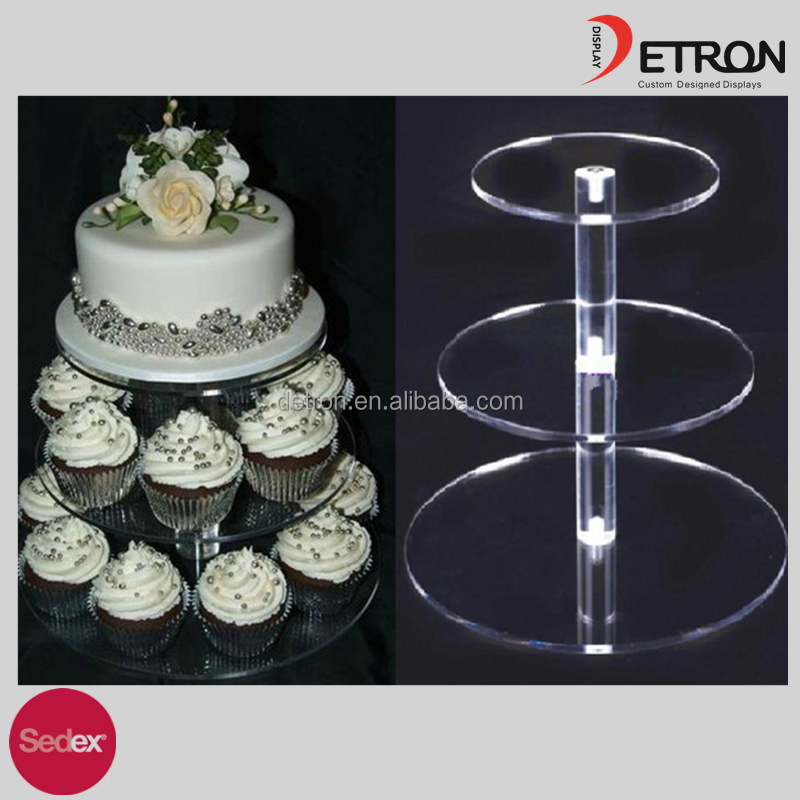 Customized 3 4 Tier Crystal Clear Acrylic Round Cupcake Stand