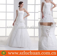 Hot Sale One Shoulder Latest Bridal Wedding Gowns Pictures