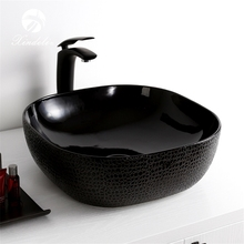 Top design high-end black ceramic bathroom art basins lavabo sinks wash basin price