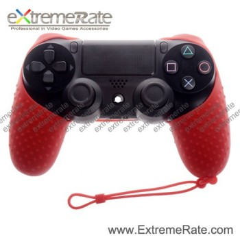 Flexible Silicone Protective Rubber Case For PS4 Controller Red Skin With Wrist Strap