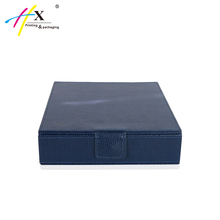 Navy Blue Luxury Storage Pendant & Necklace Leather Jewelry Box with Velvet Interior