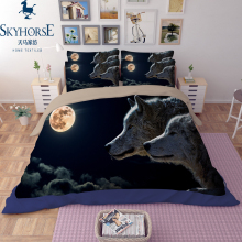 Hot selling 100% cotton 3d siberia wolf printing bedding set made in china