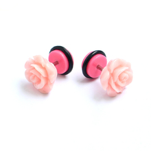 Custom pink flower fake plug piercing jewelry