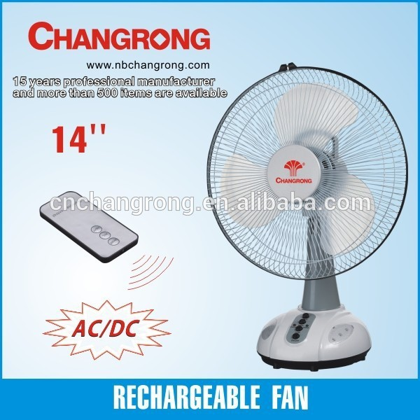 CR-6214 AC/DC rechargeable emergency solar table fan with light
