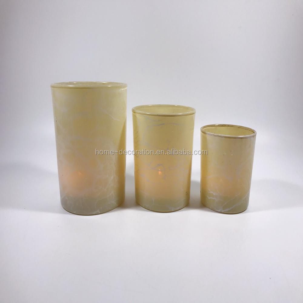 yellow marbled glass candle holder decoration ideas