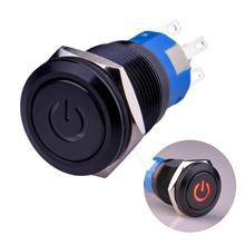 19mm Rugged Metal Pushbutton with Red LED Ring and Power Symbol