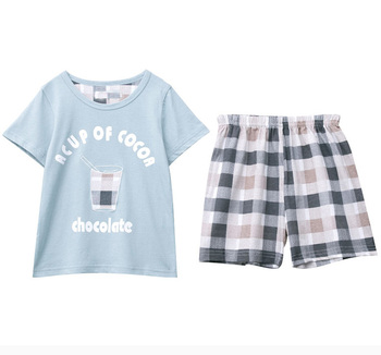 short sleeve kids pyjamas sets summer Tshirt and pants boys and girls sleep wear
