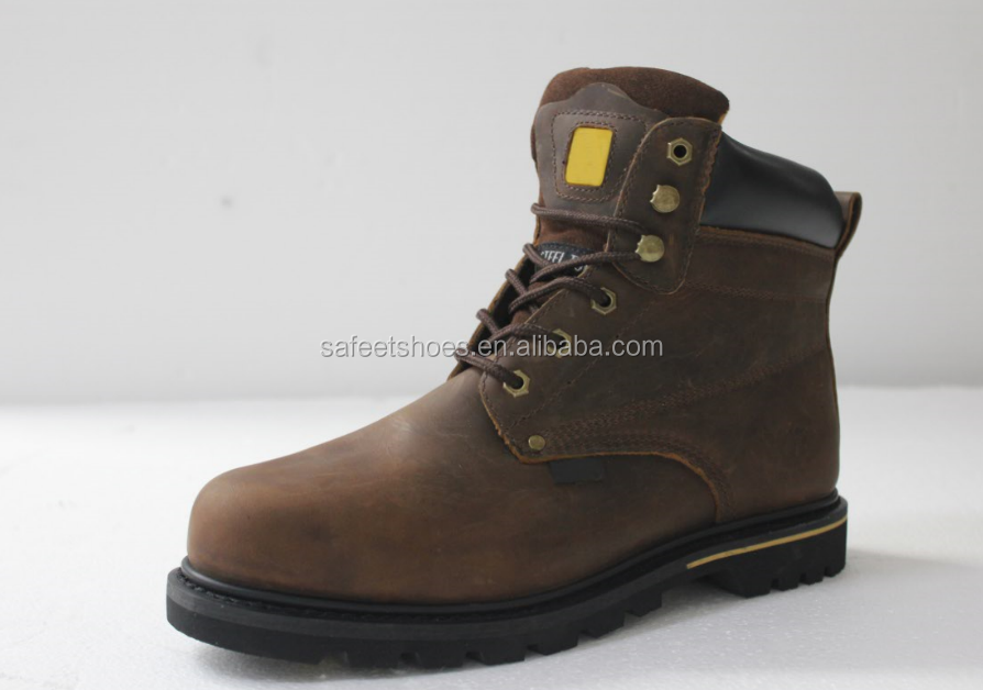China good quality low MOQ full grain crazy leather CE standard industrial steel toe safety shoes price factory SA-3209
