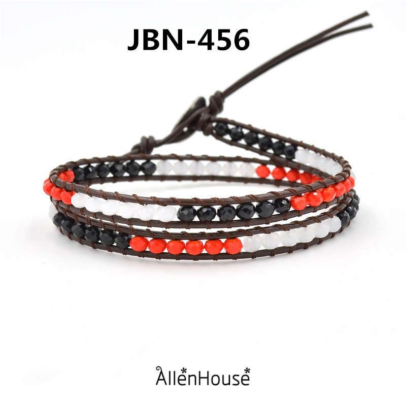 chinese supplier make best friends 2 wraps black mix red gemstone stretch leather wrap moroccan bracelets