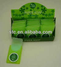 Paper soap suitable for household, hotel and travelling use
