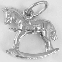 silver plating rock horse cheap bulk charms