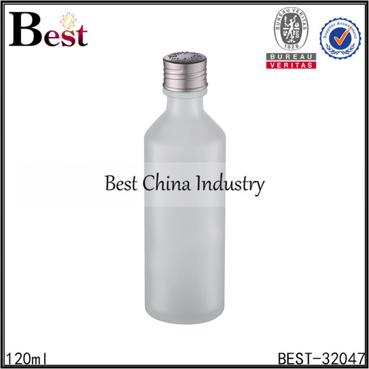 120ml beer shaped empty frosted glass bottle with aluminum cap