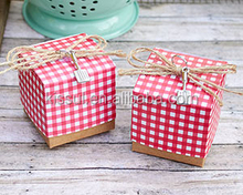 Super Nice Wedding Gift box Red Gingham Print Favor Box For candy box and gift bags