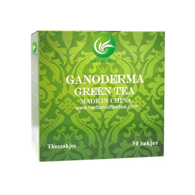 Lifeworth Factory Directly Supply Fit Ganoderma Green Tea Leaves with Bottom Price Per kg and MOQ 200 boxes