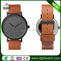 High end sapphire crystal stainless steel case genuine leather band custom logo watch
