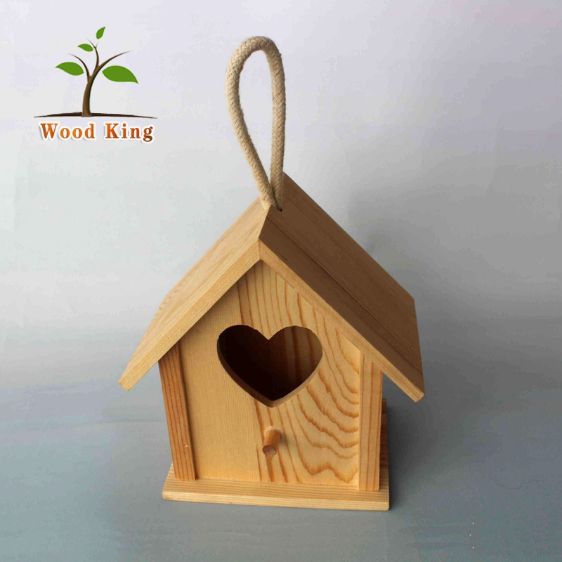 Factory Wholesale Direct Sales Pine Square Sea Bird Nest Price Hanging Ornament Wooden Chinese Bird House Cage